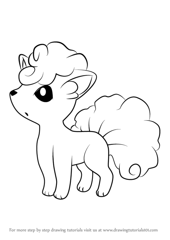 How To Draw Alola Vulpix From Pokemon Sun And Moon Drawingtutorials101 Com Pokemon Coloring Pages Pokemon Drawings Pokemon Coloring