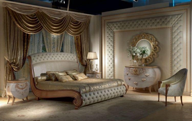Schlafzimmer mit Möbeln im französishen Stil - Kommode in Weiß mit - schlafzimmer ideen weis modern