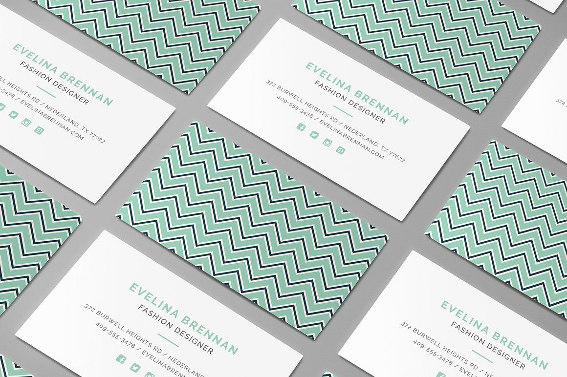 6 Chevron Business Card Templates | Card templates, Business cards ...