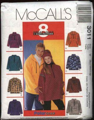 McCall's Sewing Pattern 3011 Misses Mens Unisex Chest Size 34-44 ...