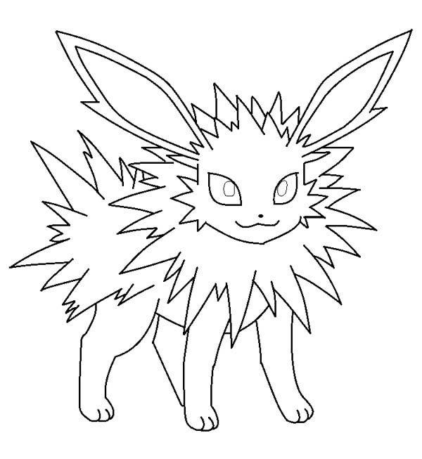 Jolteon Is Smiling Coloring Page Kids Play Color Pokemon Coloring Pokemon Coloring Pages Coloring Pages