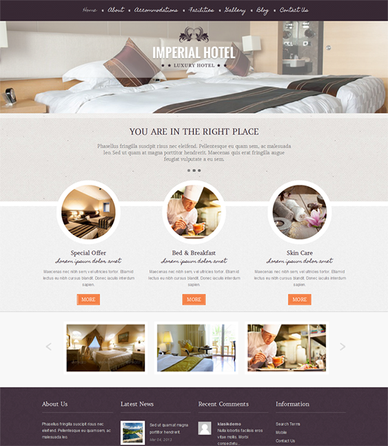 This hotel WordPress theme has a responsive layout, SEO-friendly ...