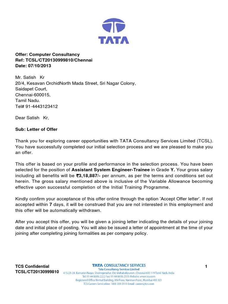 Appointment Letter For Junior Accountant Cover Tcs Offer Sample