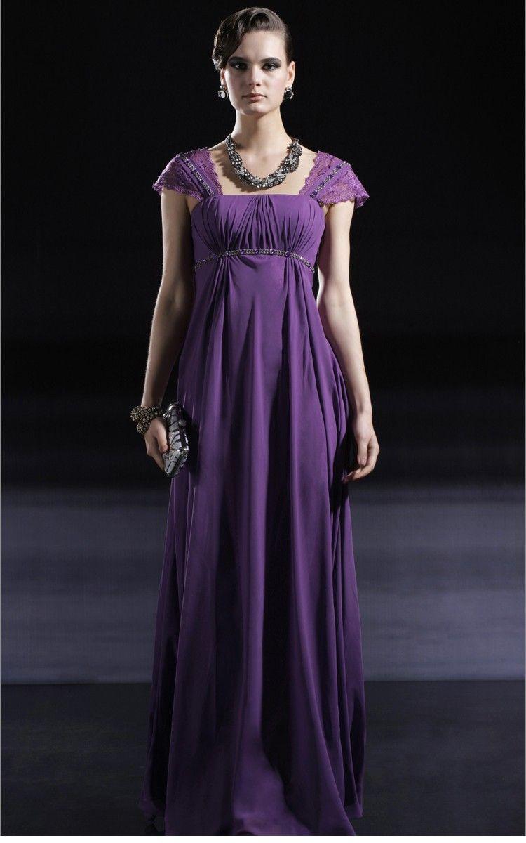 Purple Square Neck Satin Chiffon Evening Dress | Purple Passion ...
