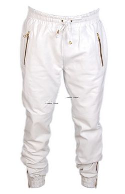 White Leather Joggers Pants Men -By going to Gemoutlook.com users will get  the