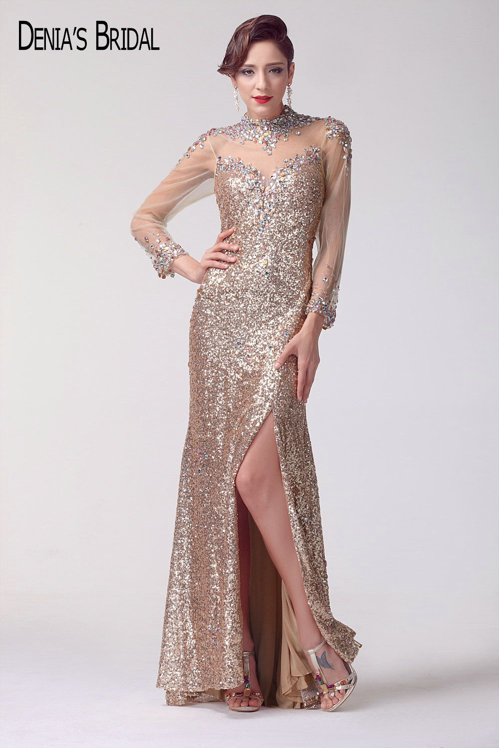 Real photos high neck slit evening dresses with long sheer sleeves