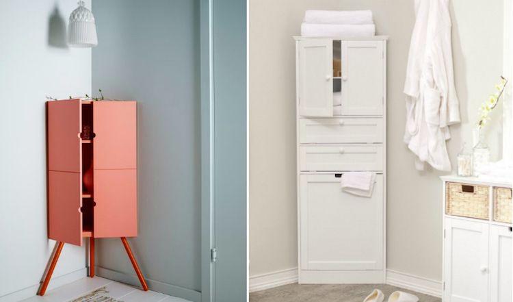 petite armoire d\'angle sur pieds / poser au sol en corail ou blanc ...