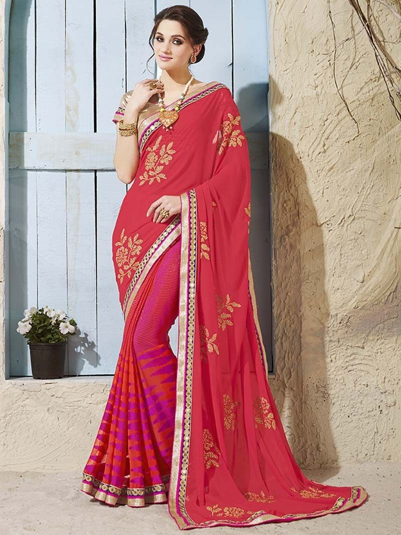 0296ee0cc3e2ca SHADED PINK COLOR INDIAN DESIGNER PURE CHIFFON #SAREE WITH #BLOUSE #GARMENT  #DESIGN