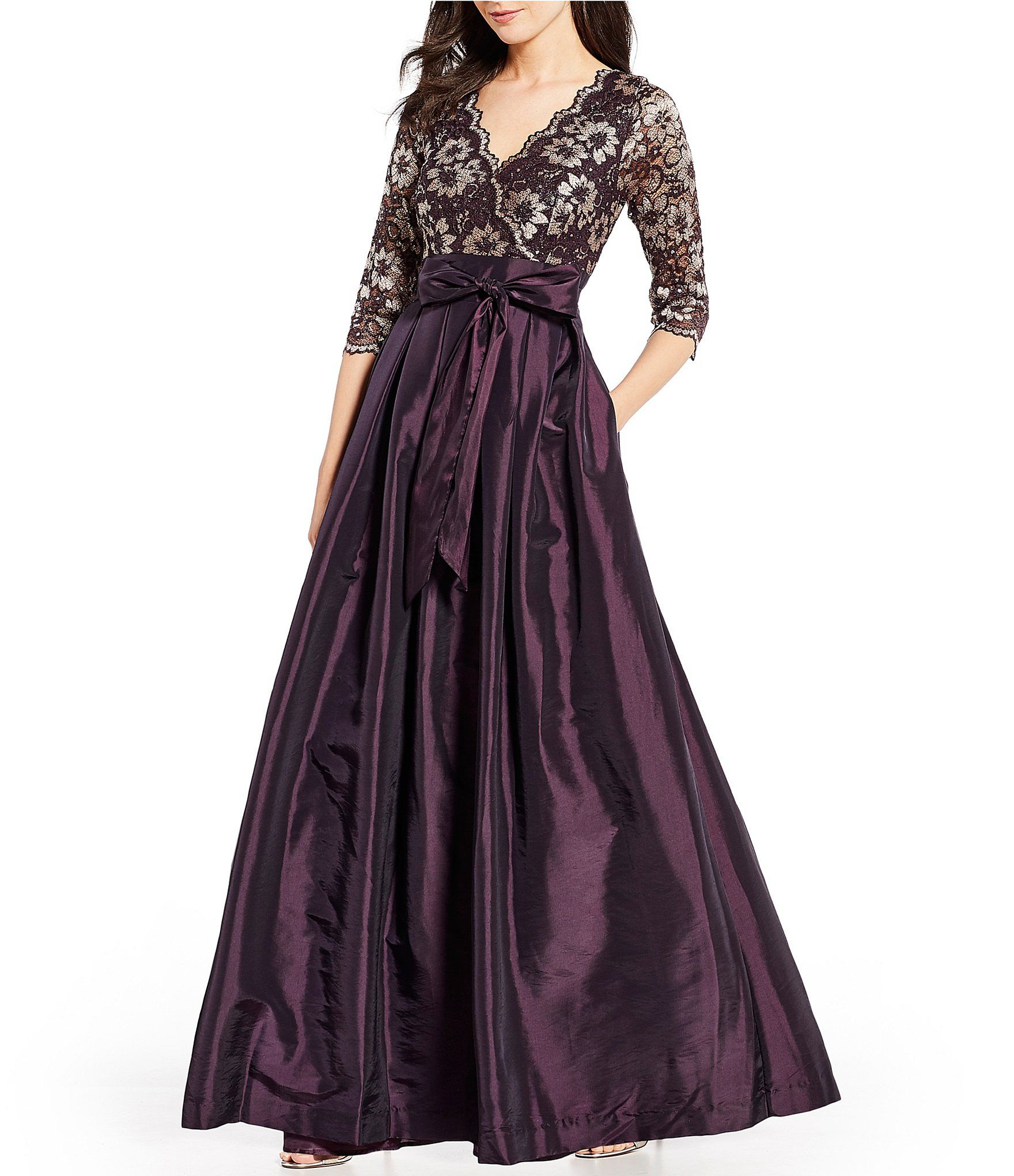 Jessica Howard V Neck 3 4 Sleeve Lace Taffeta Ball Gown Dillard S Winter Bridesmaid Dresses Ball Gowns Evening Gowns Formal [ 2040 x 1760 Pixel ]