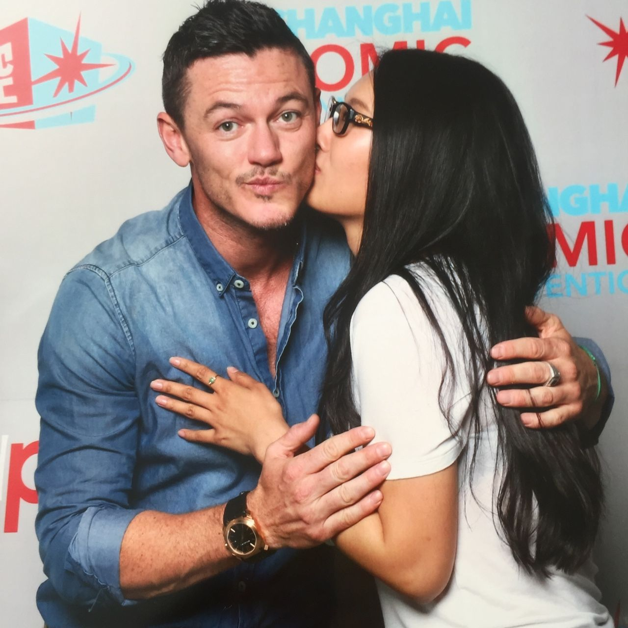 Luke Evans with the luckiest girl in the world.