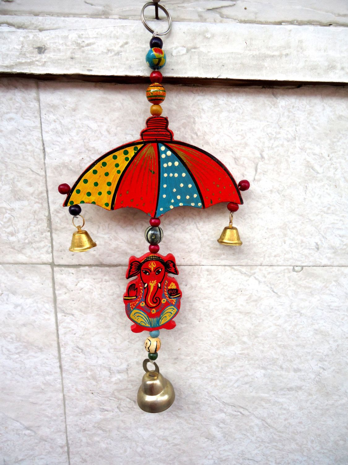 Ganesha wall hanging, bell hanging, housewarming gift, umbrella door ...