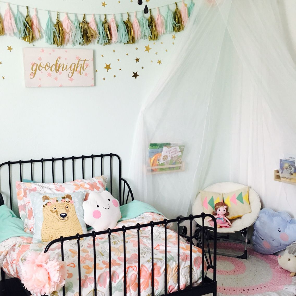 girly girl room. ikea toddler bed. target bedding. ikea canopy