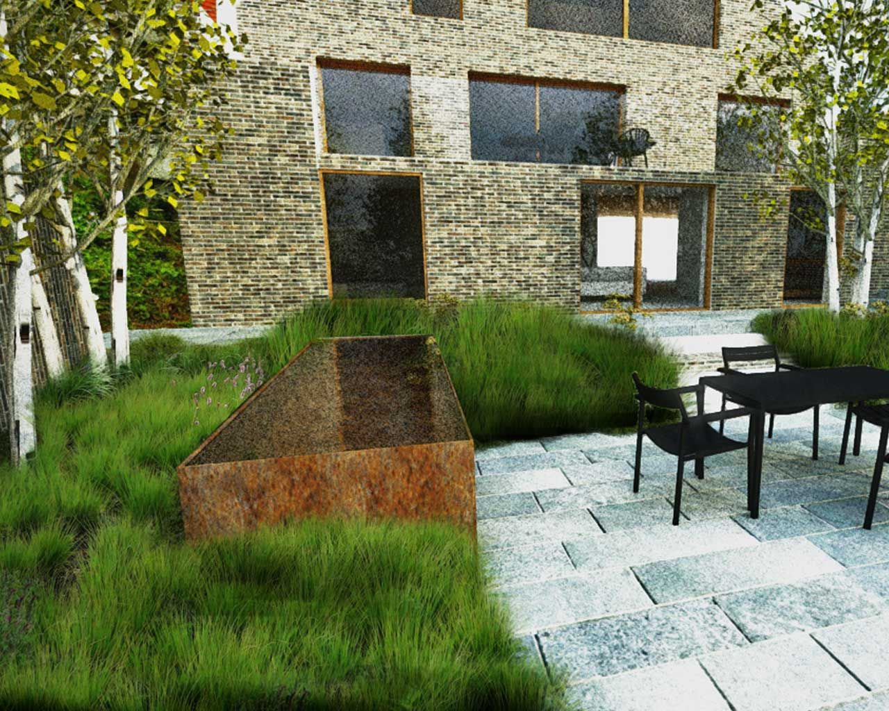 Modern family gardens contemporary landscape design for Amenagement jardin 77