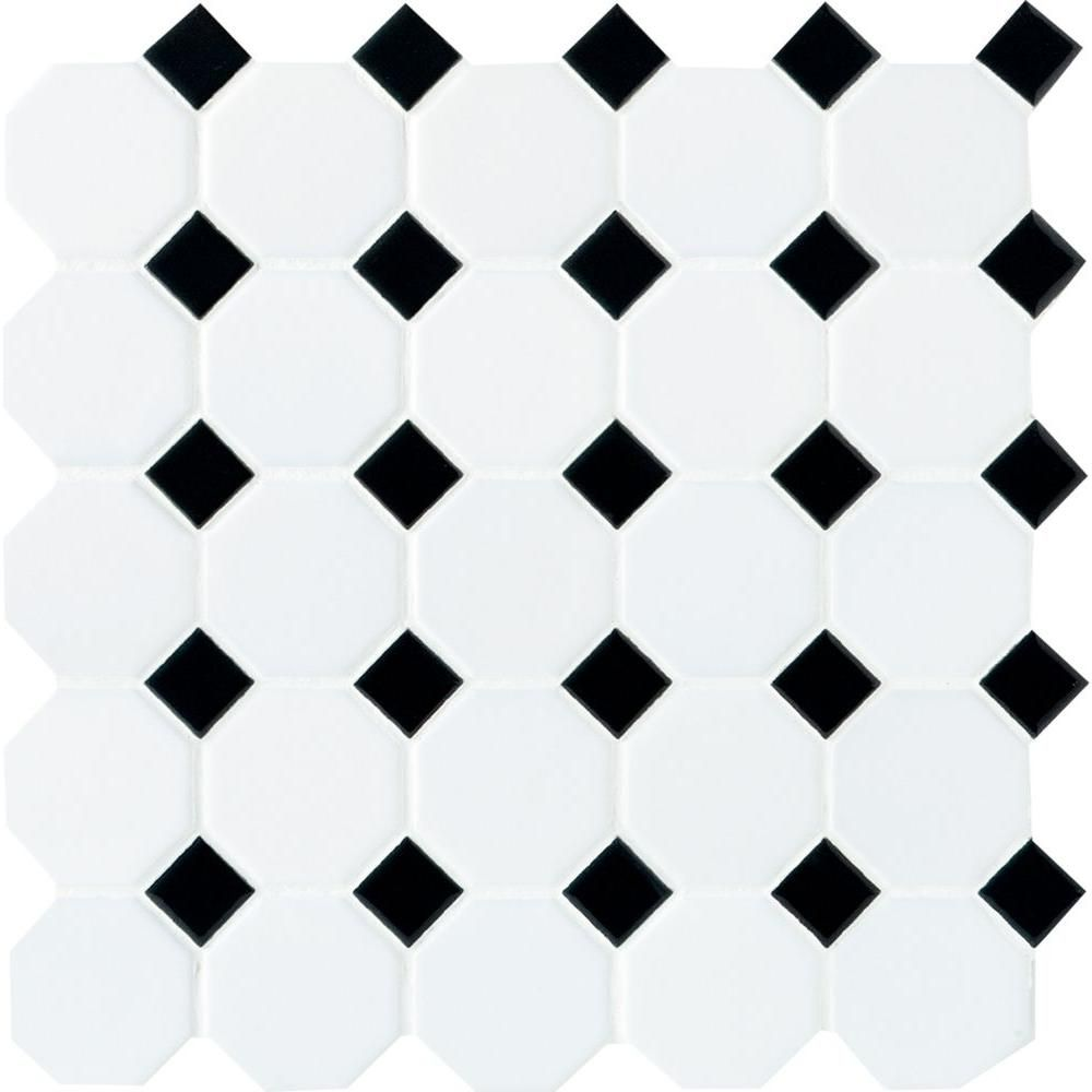 Daltile Matte White With Black Dot 12 In X 6 Mm Ceramic Octagon Mosaic Tile 10 Sq Ft Case 65012oct21cc1p2 The Home Depot
