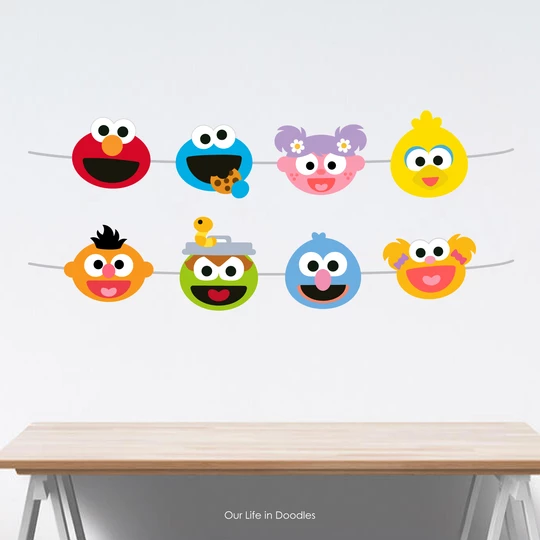 Sesame Street Banner Abby Elmo Cookie Monster Party Decor Garland Birthday Printable Party Cake Topper Sesame Street Birthday Party Cookie Monster Party Elmo And Cookie Monster