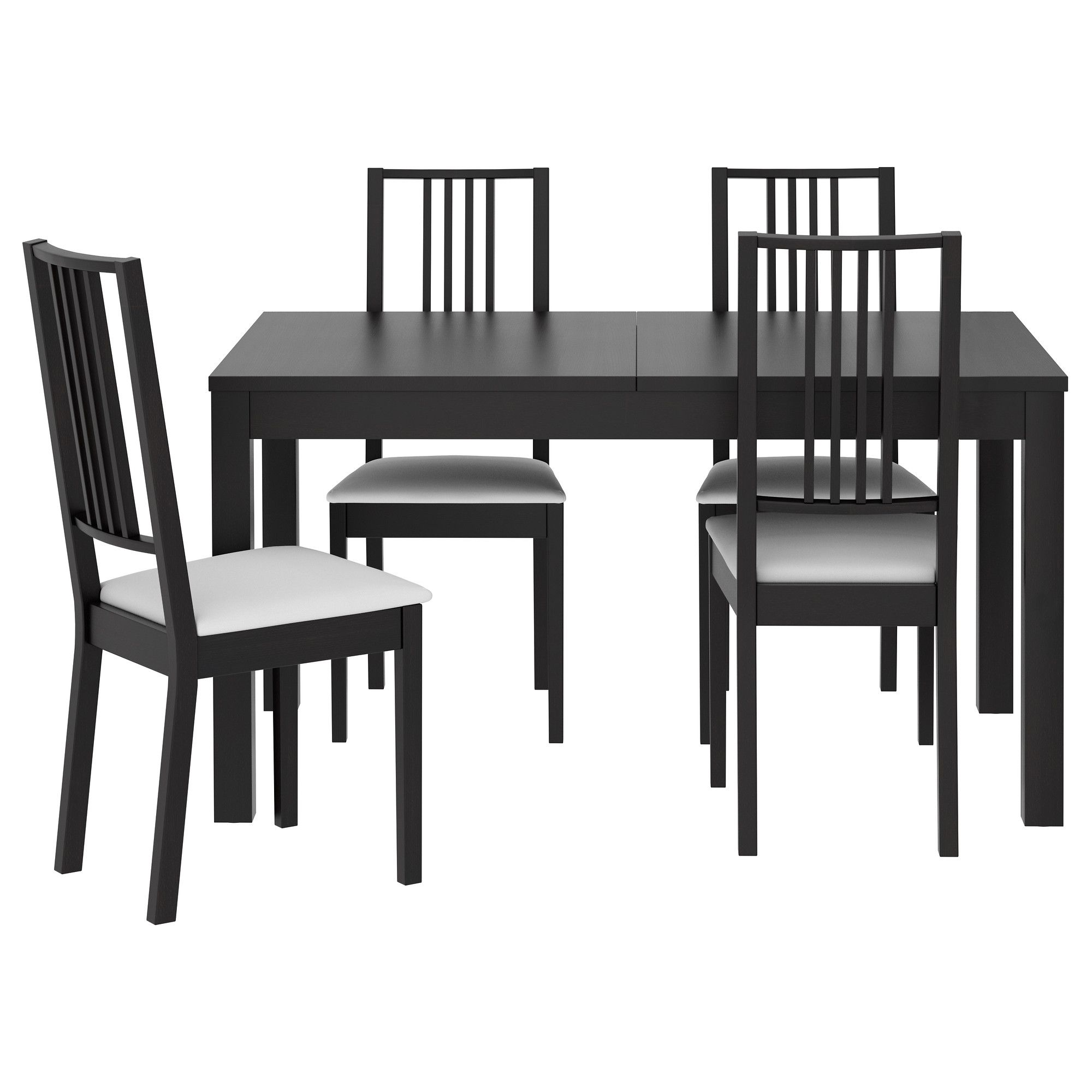 awesome black color dining table interior design featuring black varnished wooden dining chair with white fabric seat also black varnished wooden simple : black kitchen dining sets