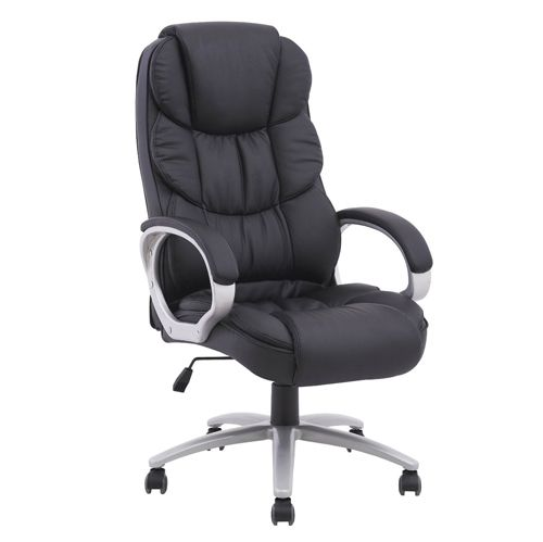 High Back Leather Executive Office Desk Task Computer Chair W Metal Base