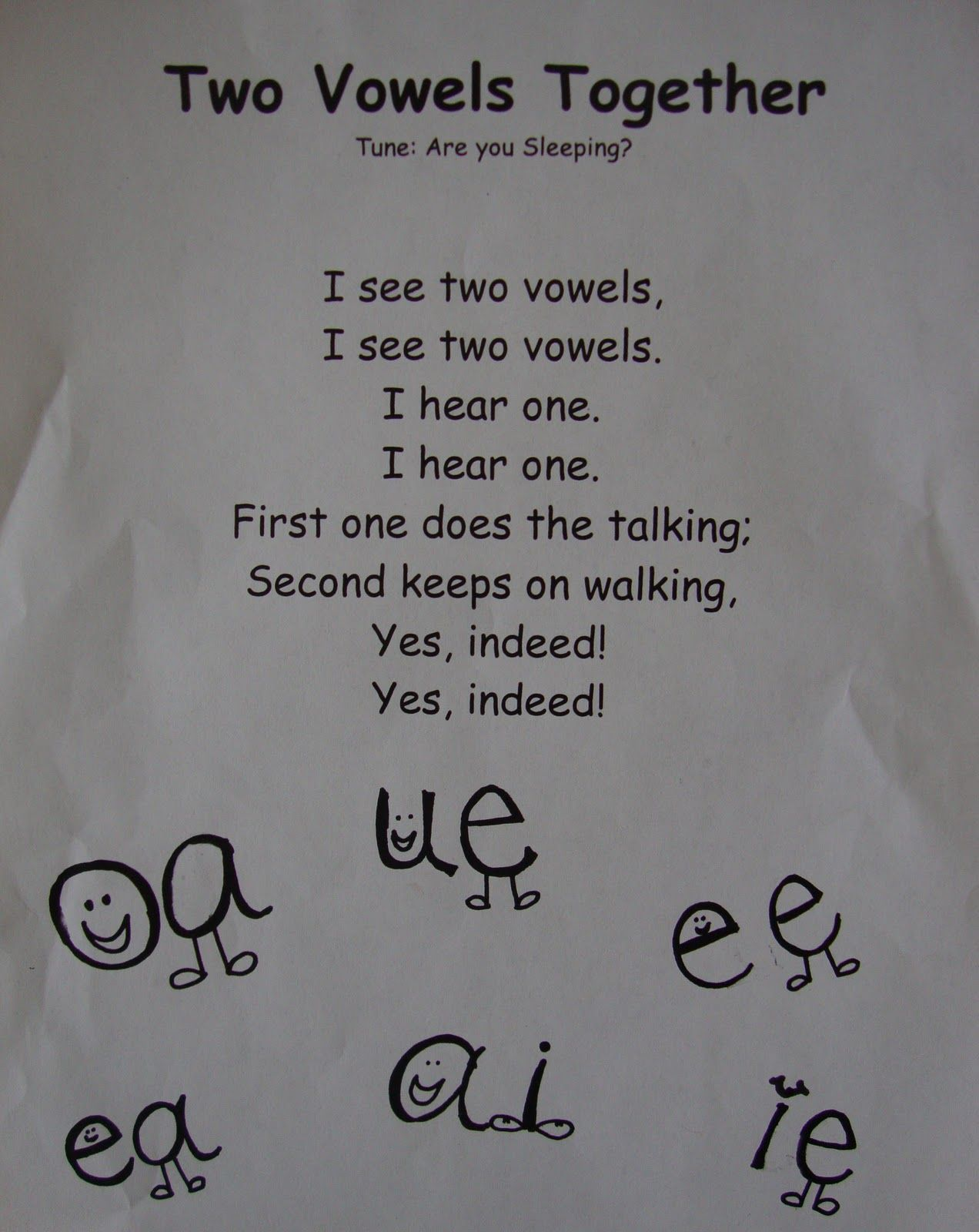 Vowel Sounds Poem