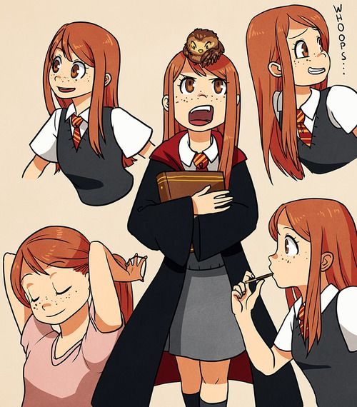 Young Ginny Weasley, anime style. Cute!