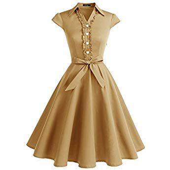 a18227afb98 Wedtrend Robe Vintage 50 s 60 s Style Audrey Hepburn avec Boutons de cœur  WTP10007 Turmeric XS