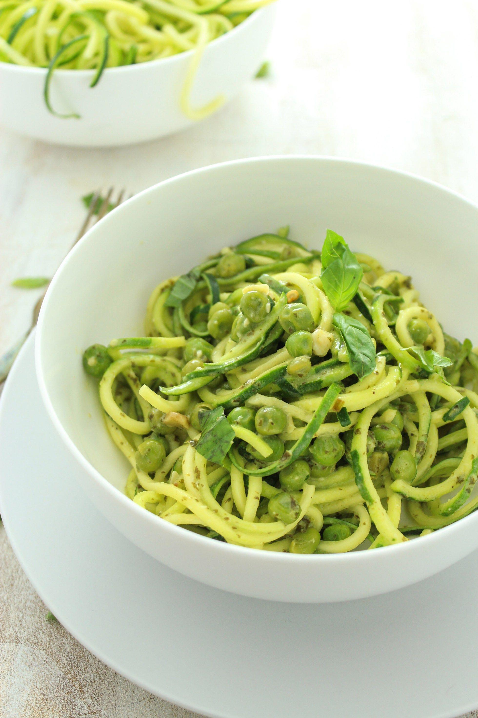 Creamy Pesto Zucchini Noodles With Peas