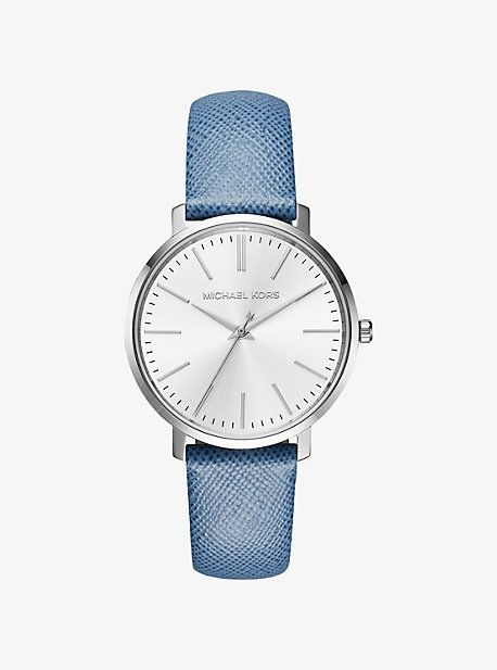 7dc8c4636028 Michael Kors Jaryn Silver-Tone Leather-Band Watch