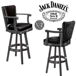 Wood 360 Swivel Black Jack Daniels Pub Bar Stool With Backrest