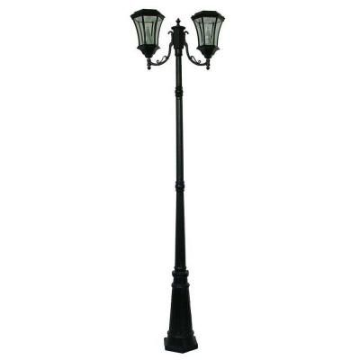 Gama Sonic Victorian 2 Head Outdoor Black Solar Lamp Post Gs 94d B The Home Depot Solar Lamp Post Light Solar Lamp Post Outdoor Lamp Posts