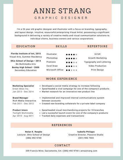 Pastel Bordered Creative Resume Creative Resume Education Skills Resume