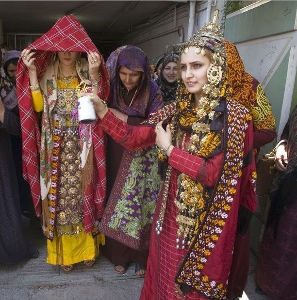 Iranian Turkaman bride in traditional Turkmani bridal costume. Iranian traditional cloth ...