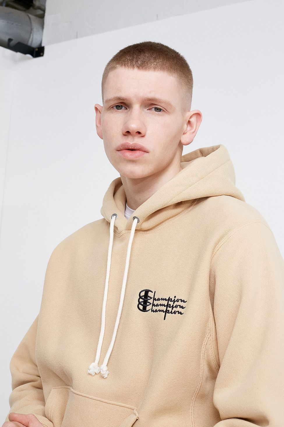 Champion Uo Exclusive Triple Logo Taupe And Black Hoodie Hoodies Black Hoodie Pullover Hoodie [ 1463 x 975 Pixel ]