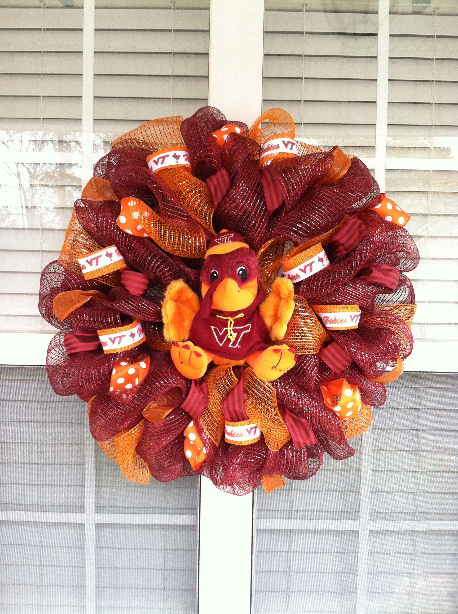Virginia tech mesh wreath Sports wreaths, Mesh wreaths