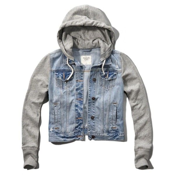 Abercrombie & Fitch Hoodie Jean Jacket ($60) Liked On