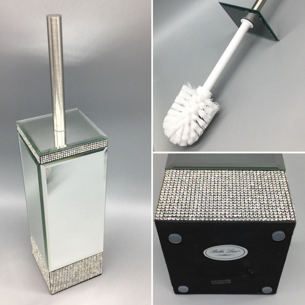 Rhinestone Trim Toilet Brush Holder