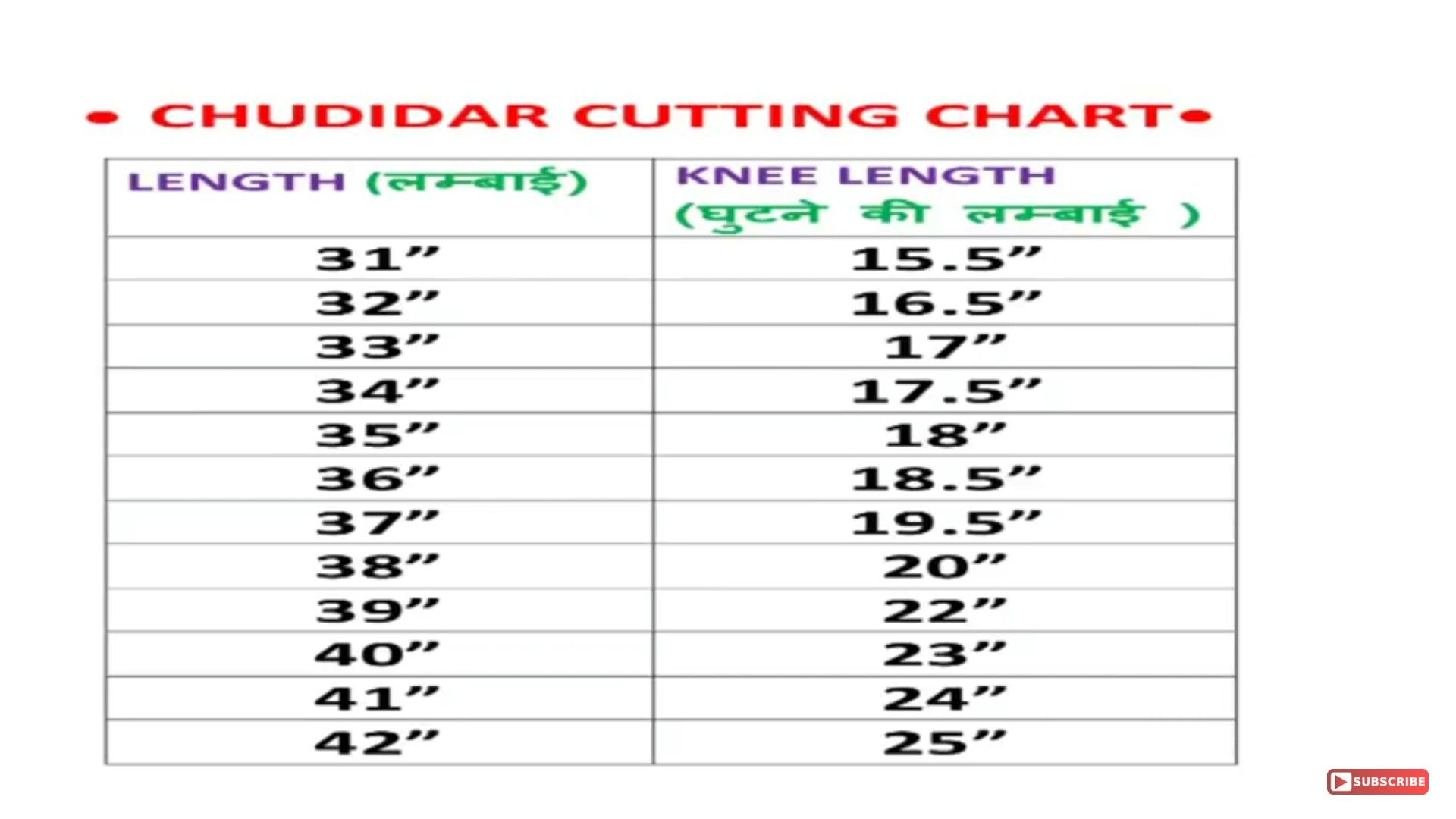 Chudidar Cutting Chart | Sizing charts | Blouse designs
