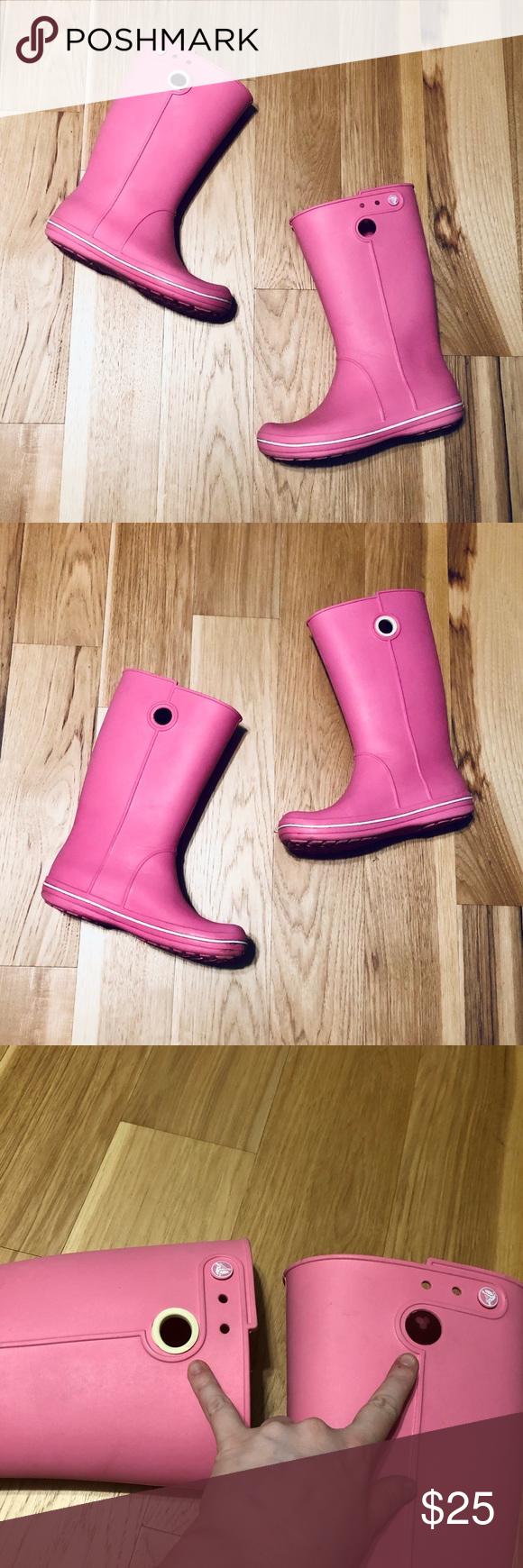 Crocs Crocband Rain Boots In Pink Lemonade New Style