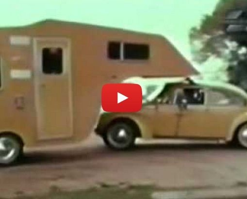 Camper Trailer Hitches To The Roof Of Small Cars Allows 360