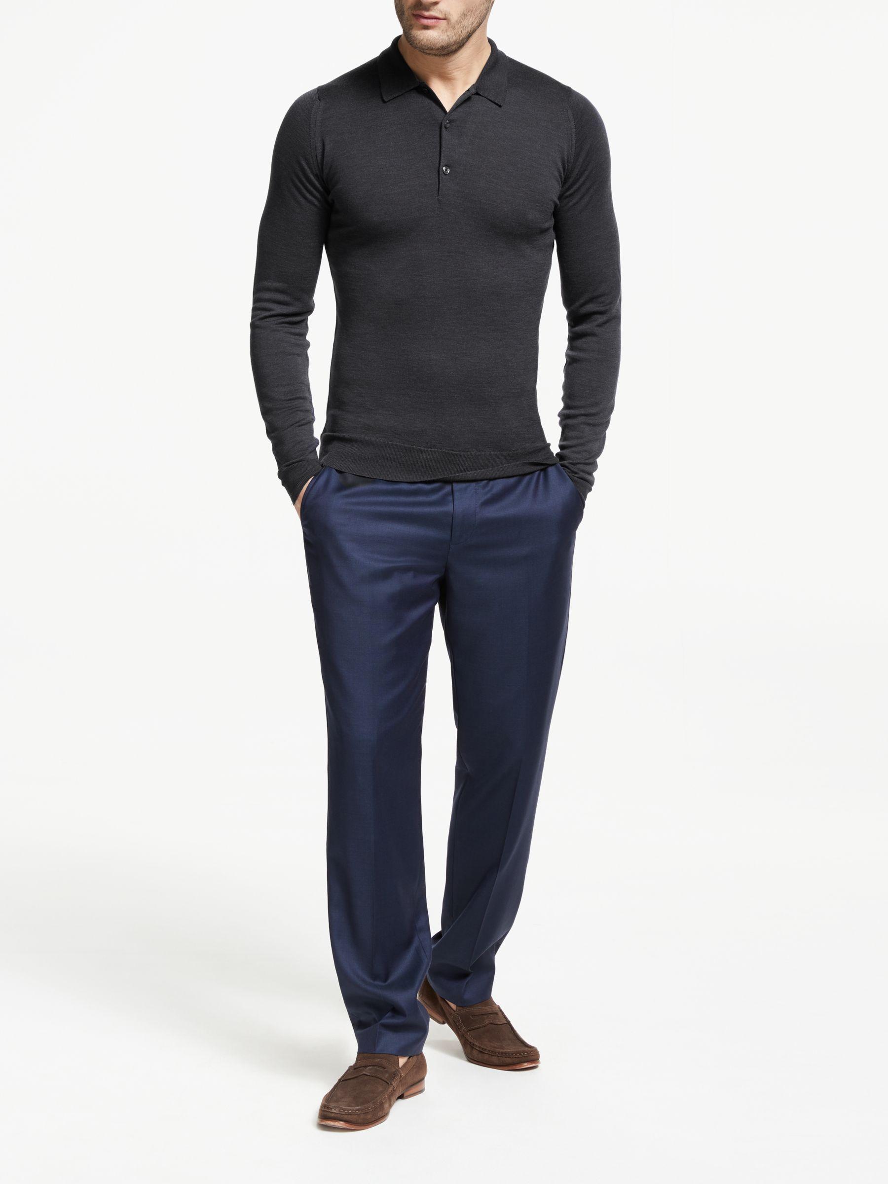 John Smedley Belper Long Sleeve Wool Polo Shirt, Blue in