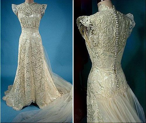 Antique Dresses | Vintage lace wedding dresses, Vintage lace ...
