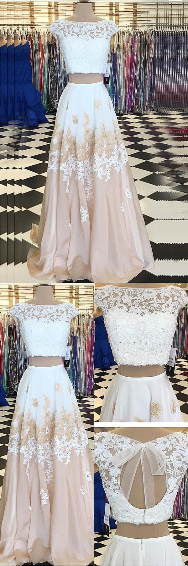 Two Piece Bateau Champagne Chiffon Sweep Train Beaded Prom Dress With Appliques Champagne Prom Dress Evening Gowns Cheap Prom Dresses [ 1800 x 600 Pixel ]