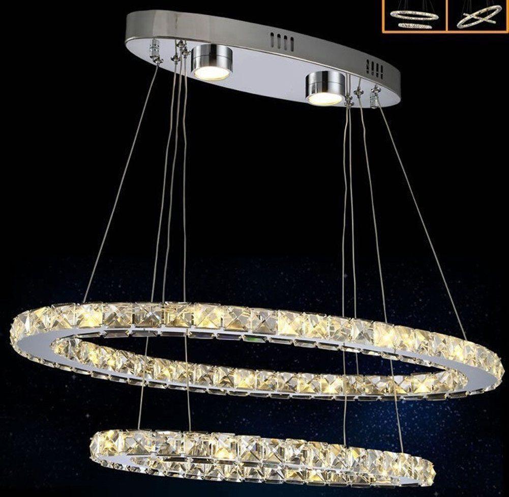 Dixun Modern Crystal Chandeliers LED Ellipse Pendant