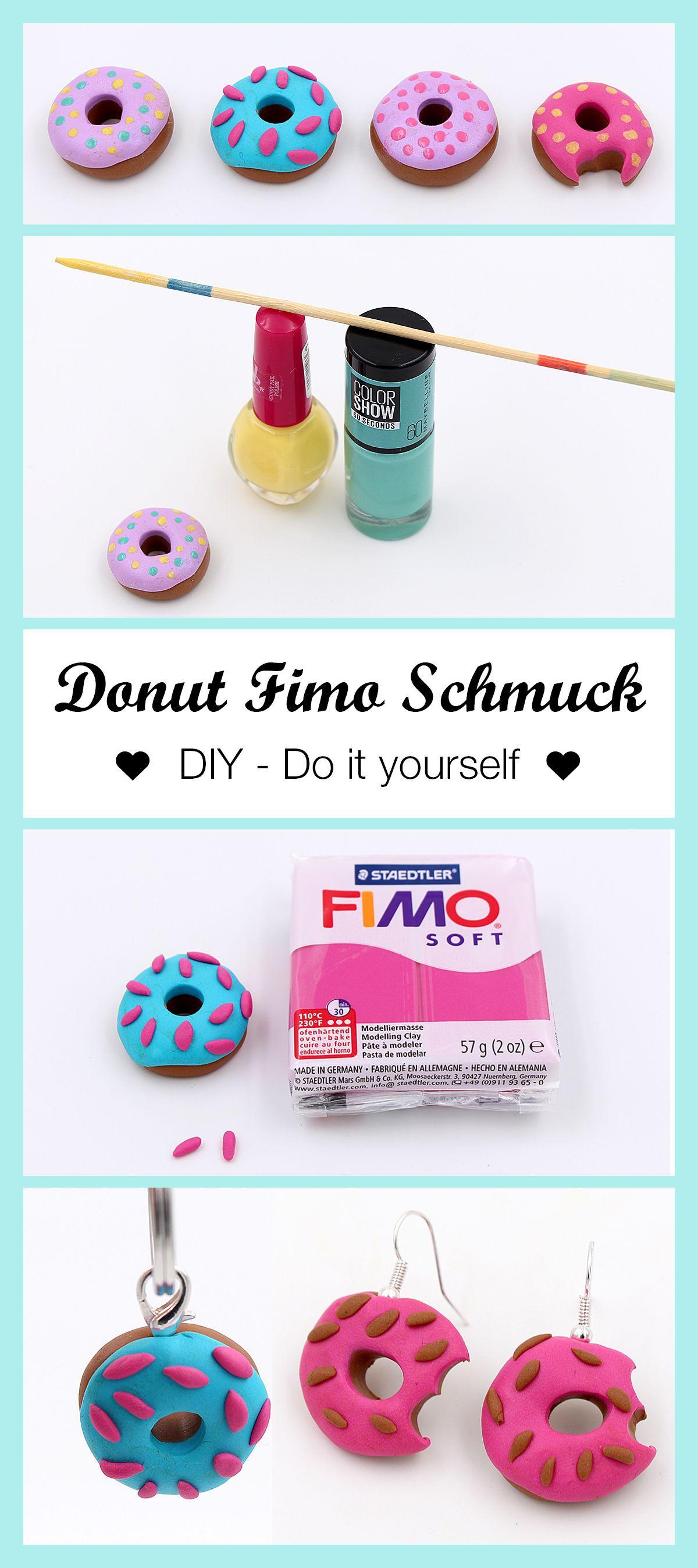 schmuck aus fimo donuts selber machen diy anleitung fimo fimo ideen und basteln mit kindern. Black Bedroom Furniture Sets. Home Design Ideas