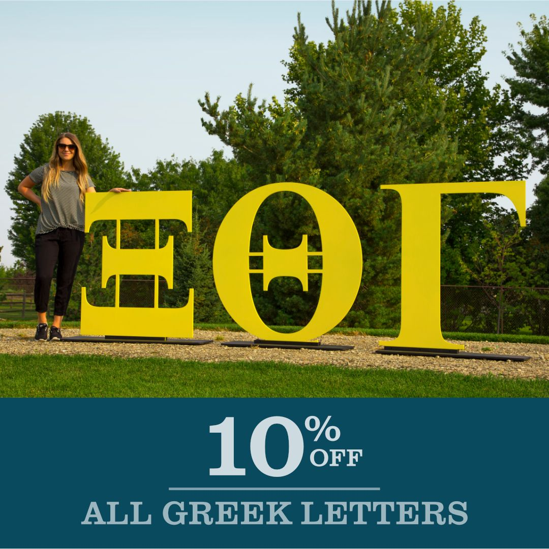 Take 10 off your order of Greek Letters. Use code