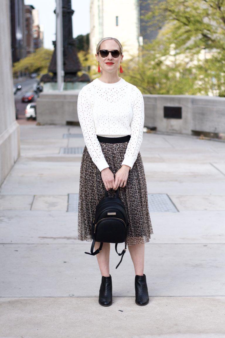 34105846a9 leopard tulle skirt, tassel earrings, midi skirt with ankle boots Dressy  Skirts, Tassel