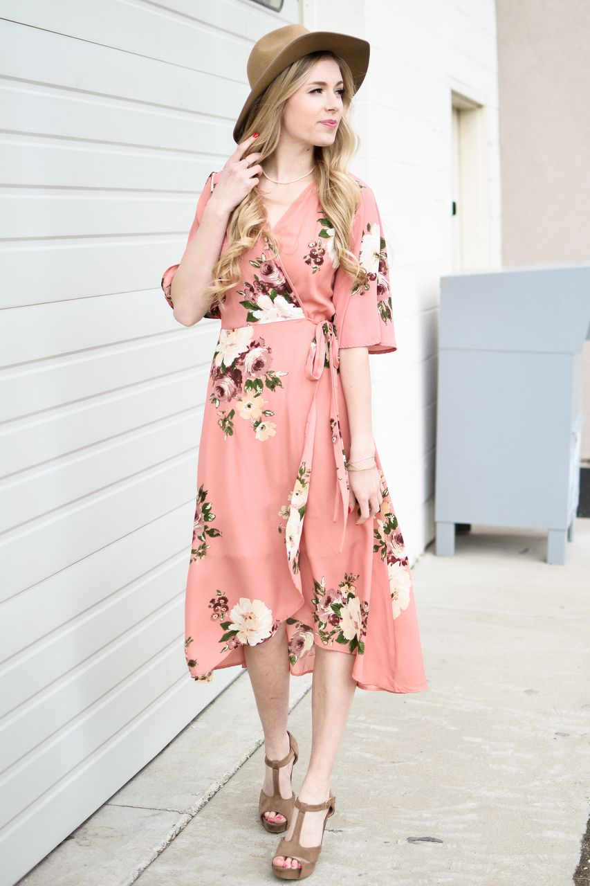 0abc038ae5ca Peach Floral Wrap Midi Dress | Modest Dresses to Wear | Boutique ...