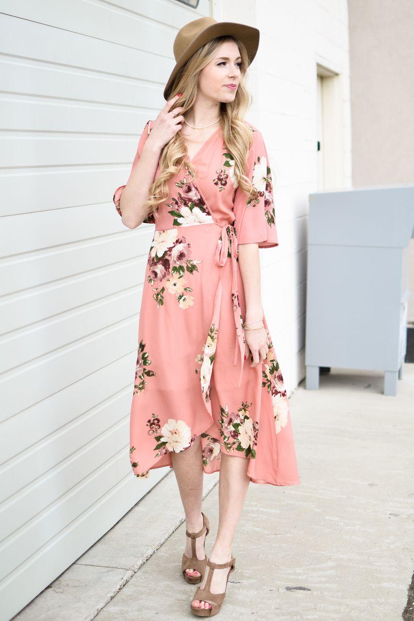 Peach Floral Wrap Midi Dress Mid Length Dresses Dresses Midi Dress Summer [ 1280 x 853 Pixel ]