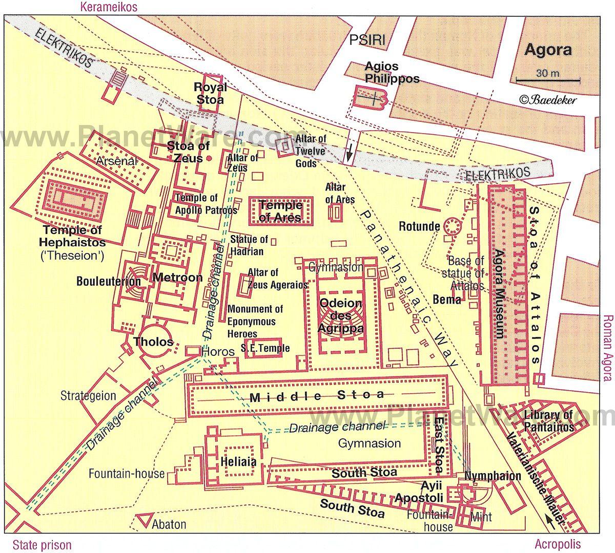 Agora Site Map Athens Ancient Greece