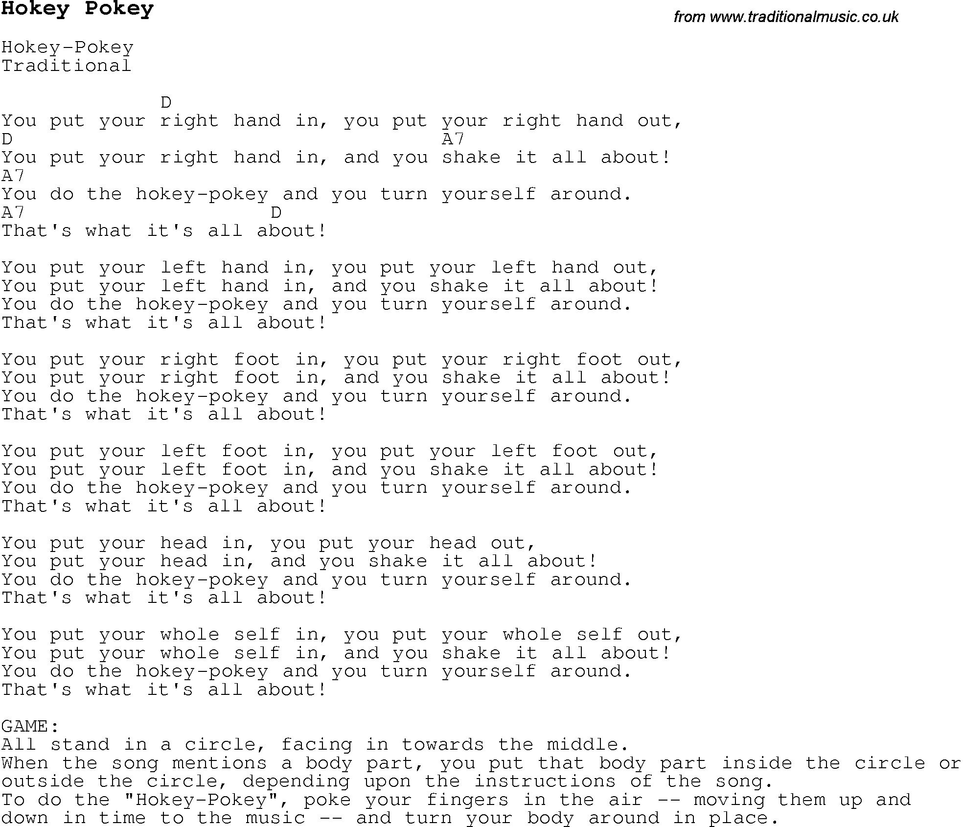 Childrens Songs And Nursery Rhymes Lyrics With Chords For Guitar