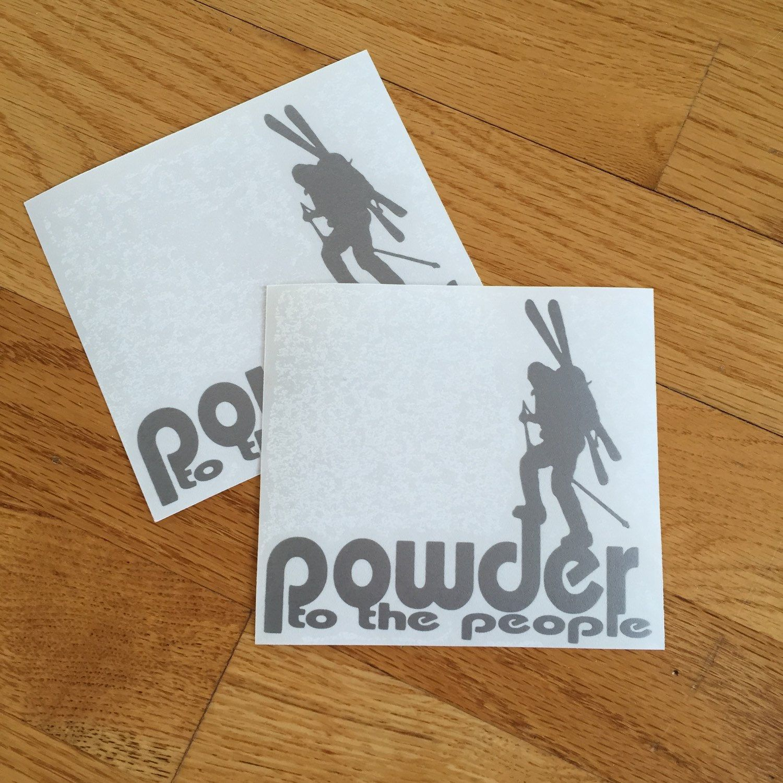 Skiing Ski Decals Vinyl Stickers Die Cuts Powder To The - Custom die cut vinyl stickers snowboard