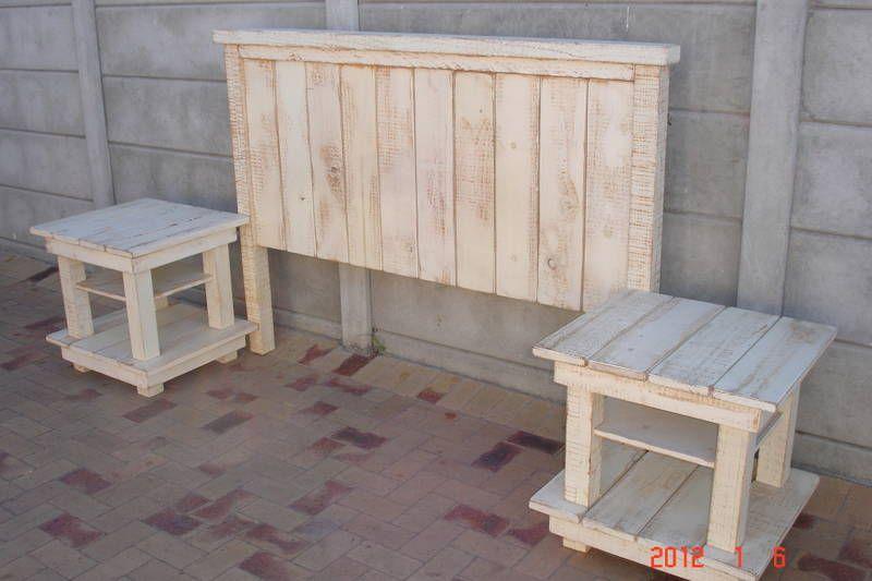 whitewash headboard with 2 pedestals